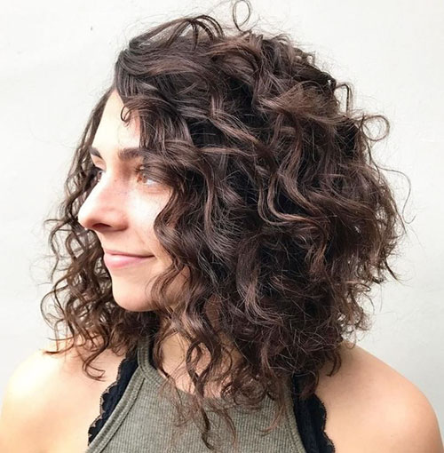 Curly Lob Haircut