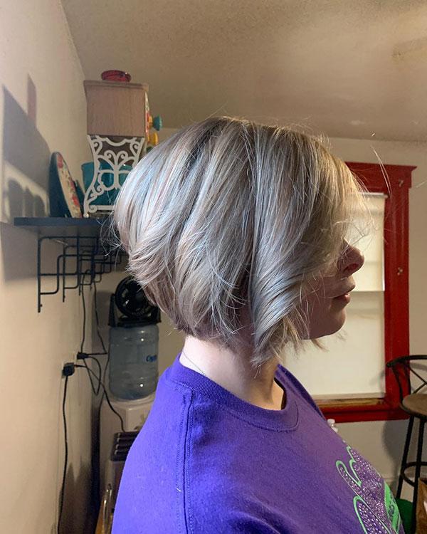 Short Angled Bob Haircuts For Girls